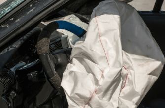 Exploded airbag after car accident